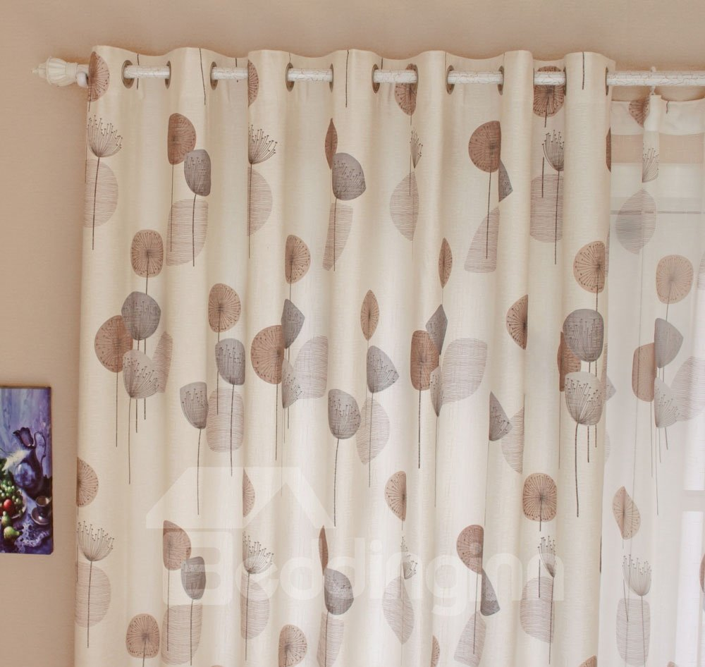 High Quality Super Elegant Dandelion Printing Grommet Top Custom Curtain