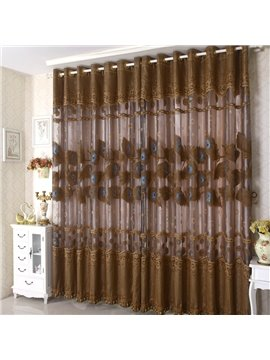 Coffee Color Decorative Lace Border Grommet Top Custom Curtain