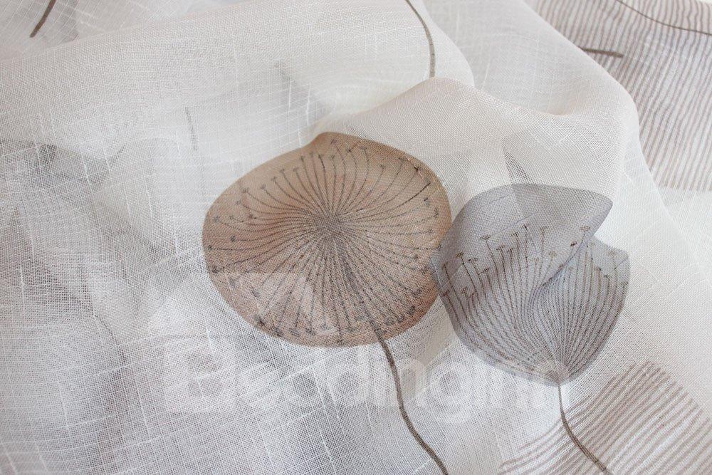 High Quality Super Elegant Dandelion Printing Pleated Curtain Sheer Curtain