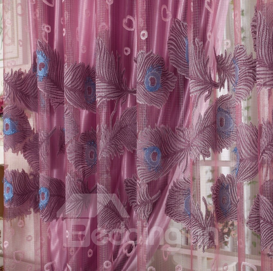 Purple Flying Peacock Print Grommet Top Shading Cloth and Sheer Curtain Sets