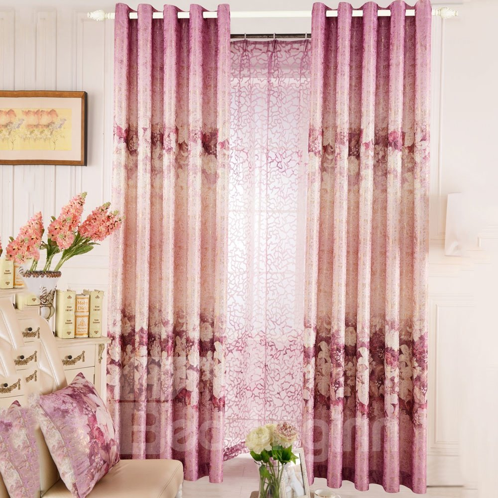 Top Class Romantic Vibrant Pink Lily And Peony Print Custom Curtain 10982223