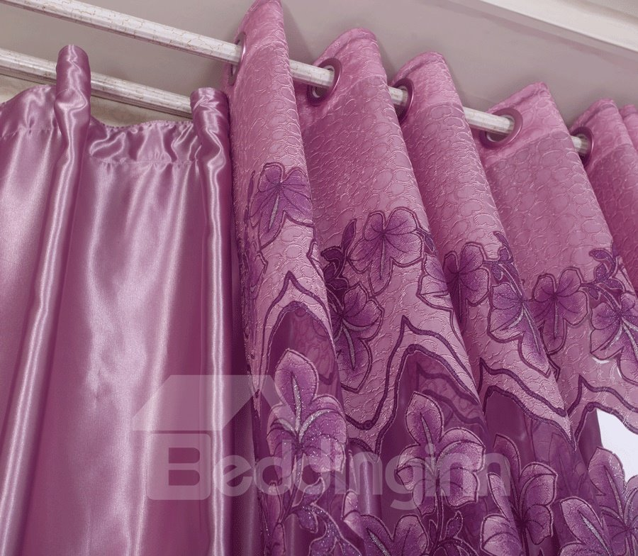 Gorgeous Floral Pattern Lining Cloth Grommet Top Curtain