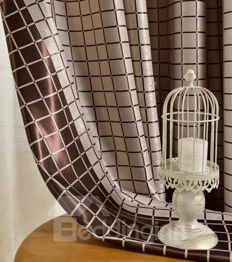 Grand Light Coffee Color Checker Grommet Top Custom Curtain