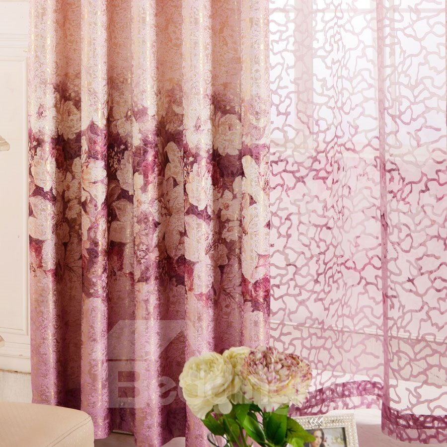 High Class Romantic Elegant Rose Custom Sheer Curtain