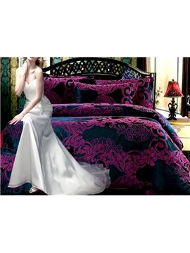 Noble Beautiful Flower Pattern 4-Piece Duvet Cover Sets