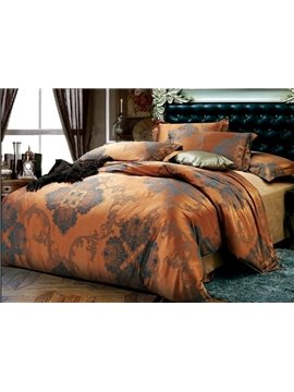 Elegant Coffee Color Medallion Pattern 4-Piece Duvet Cover Sets
