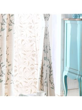 High Quality Elegant Vines Pattern Double Pinch Pleat Curtain