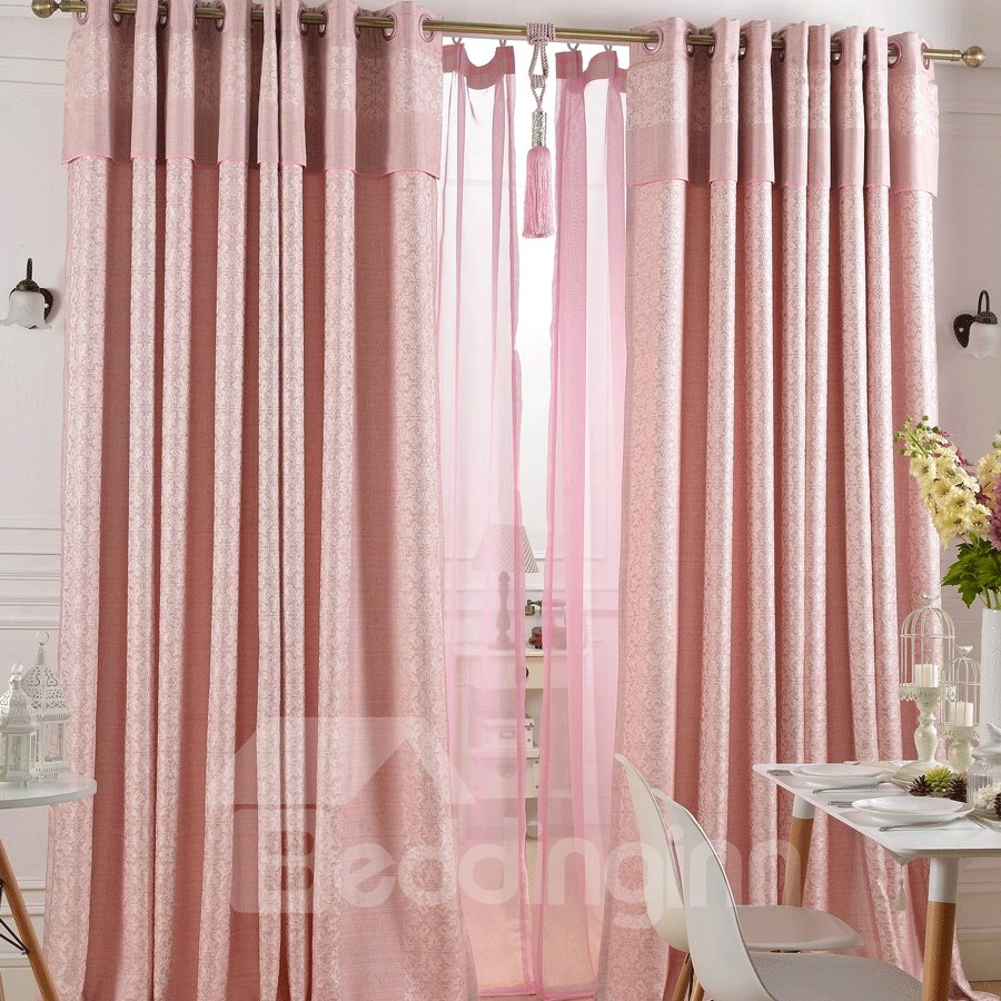 Super Lovely Pink Jacquard Flower Cinderella Grommet Top Custom Curtain 10982463