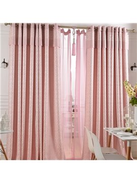 Super Lovely Pink Jacquard Flower Cinderella Grommet Top Custom Curtain
