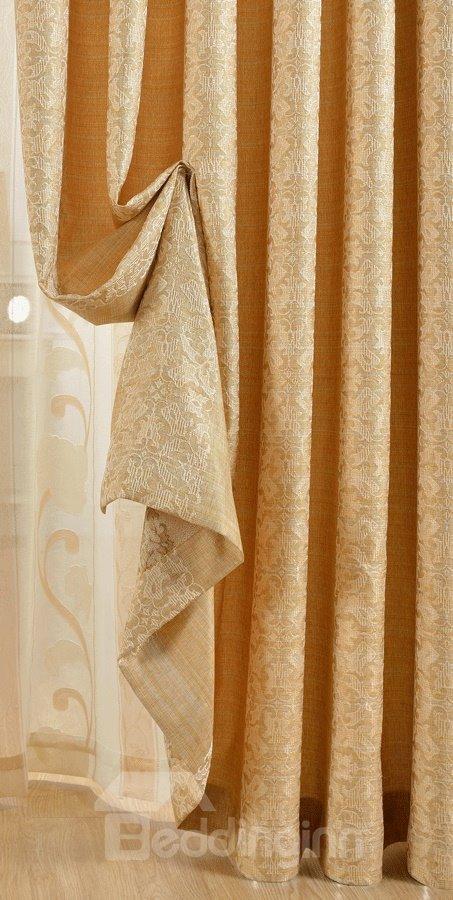 Charming Golden Jacquard Flower Grommet Top Curtain
