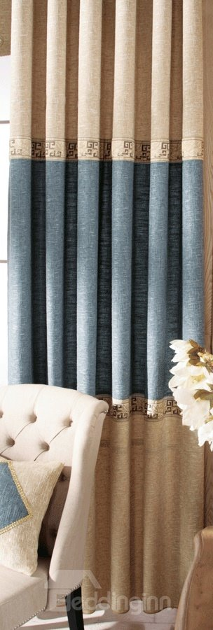 Unique Yellow Matching Sky Blue Gunny Grommet Top Custom Curtain