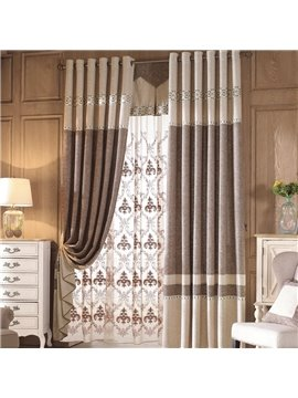 Concise Double Color Coffee Grommet Top Curtain