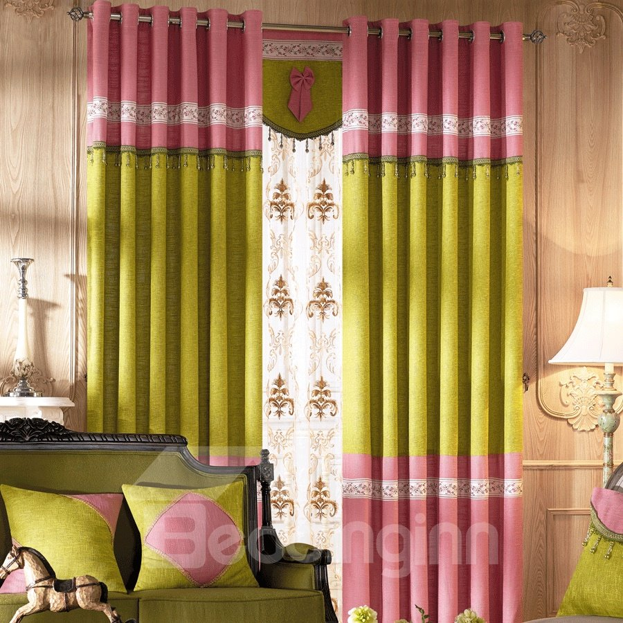 Prairie Style Pink Matching Green Grommet Top Custom Curtain