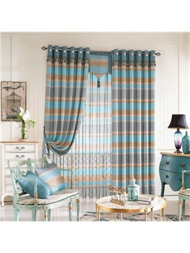 Super Soft Green Blue Checker with Plush Decoration Grommet Top Custom Curtain