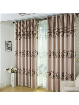 Top Class Fabulous Elegant Floral Pattern Grommet Top Two-piece Custom Curtain