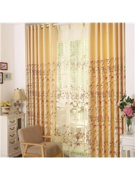 Hot Selling Golden Color and Pink Flower Grommet Top Custom Curtain