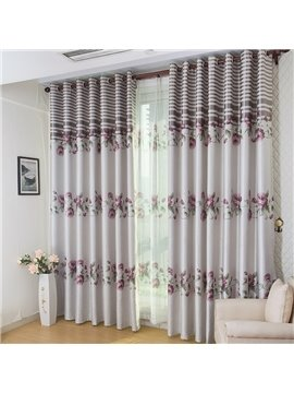 Top Class Fantastic Elegant Floral Pattern Grommet Top Two-piece Custom Curtain