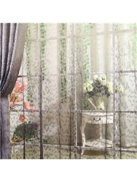 Contemporary Exquistie Tree Pattern Pleated Custom Sheer Curtain
