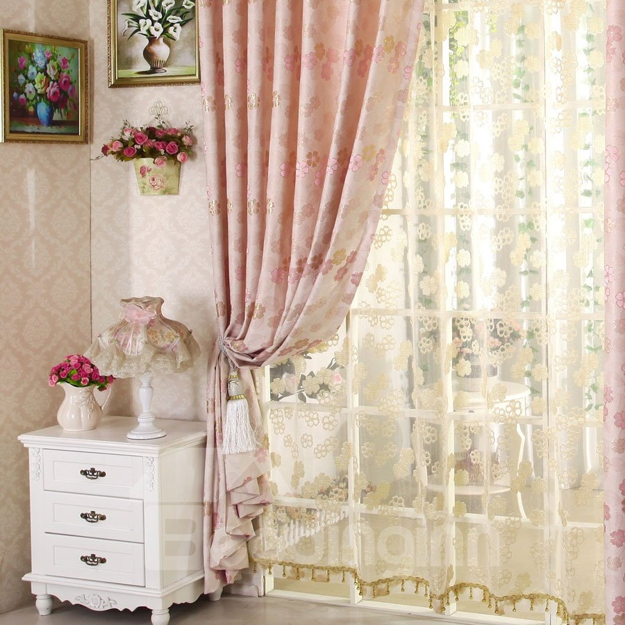 Top Class Lovely Pink Floral Design Sheer Curtain