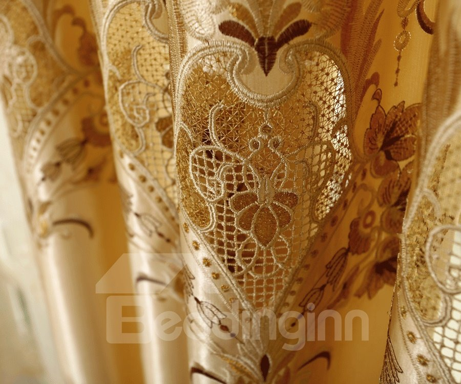 Luxury Golden Flower and Lace Border Pattern Custom Made Curtain