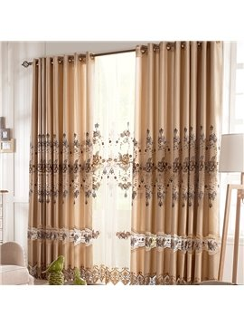 Coffee Flower Stripe and Lace Border Grommet Top Custom Curtain