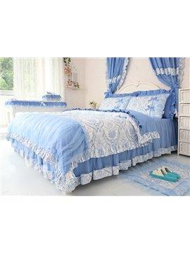 Beautiful Blue Flower Pattern 4-Piece Princess Duvet Cover Sets