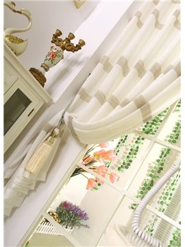 Hot Selling Stylish White and Coffee Stripes Sheer Curtain