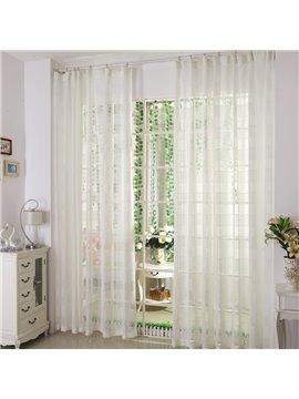 Dreamlike Pure White and Checks Custom Sheer Curtain