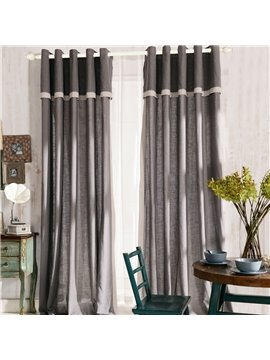 Top Class Elegant Gray Grass Lawn Design Grommet Top Two-piece Custom Curtain