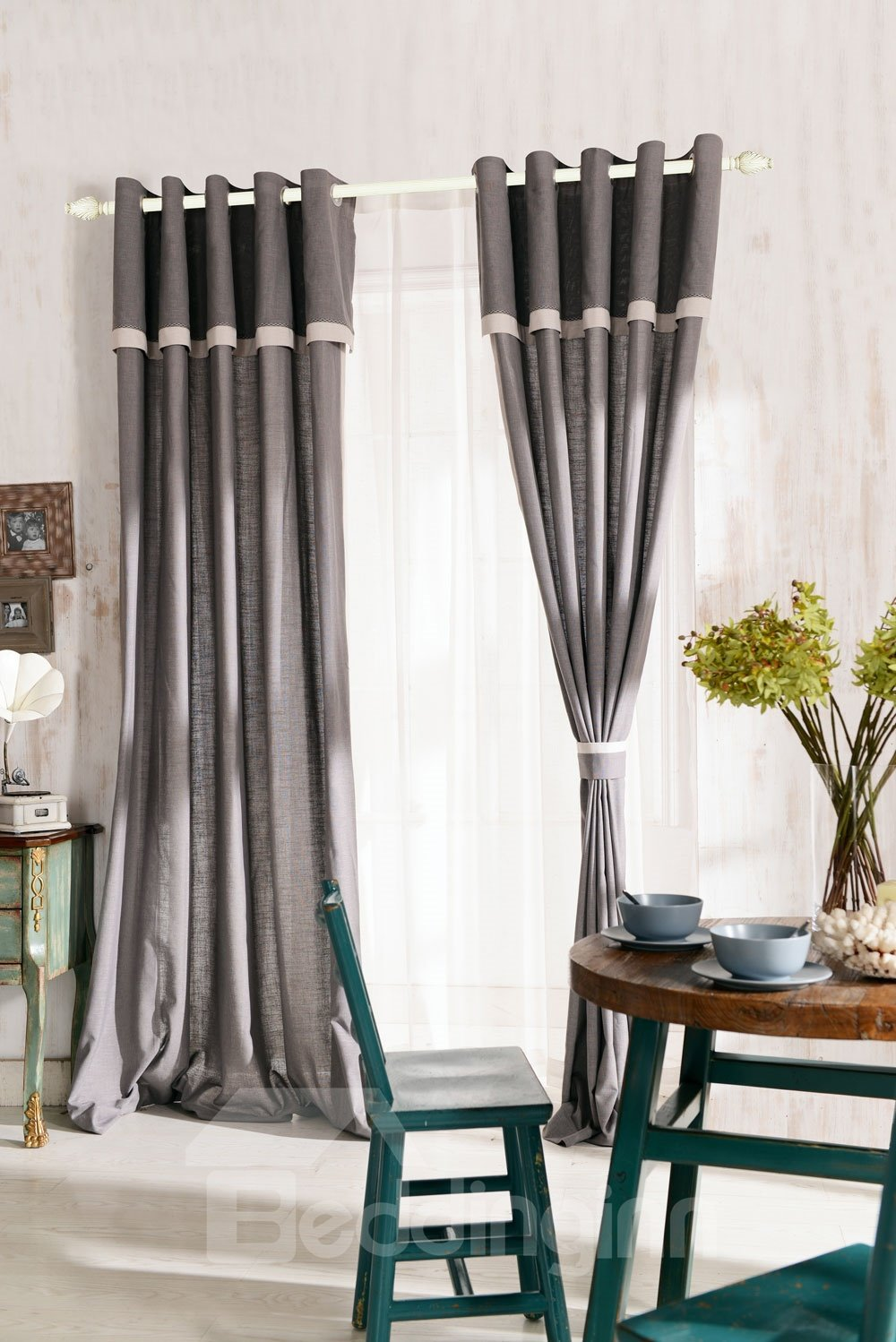 Top Class Elegant Gray Grass Lawn Design Grommet Top Two-piece Custom Curtain