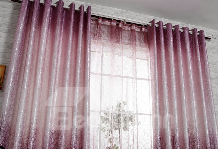 Beautiful Eternal Tree Print Purple 2-Pieces Custom Curtain Drape