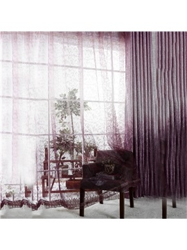 New Classic Modern Single Open Eternal Tree Purple Custom Sheer Curtain