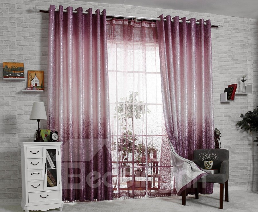 New Classic Modern Single Open Eternal Tree Purple Sheer Curtain