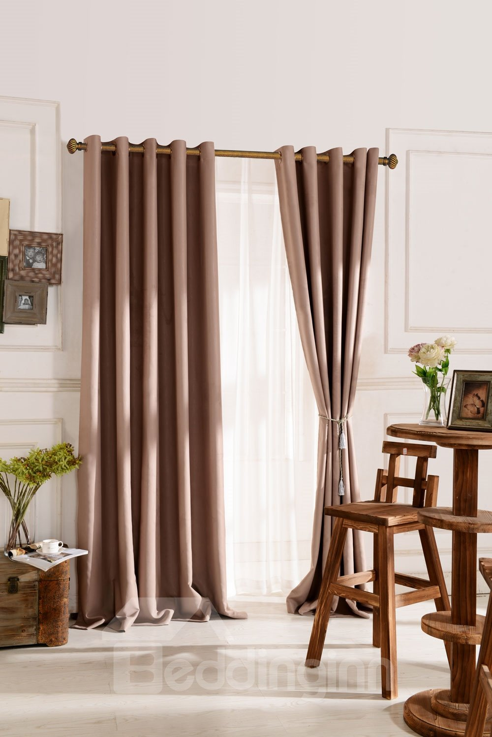 Top Class Elegant Brown Grass Lawn Design Without Shade Head Custom Curtain