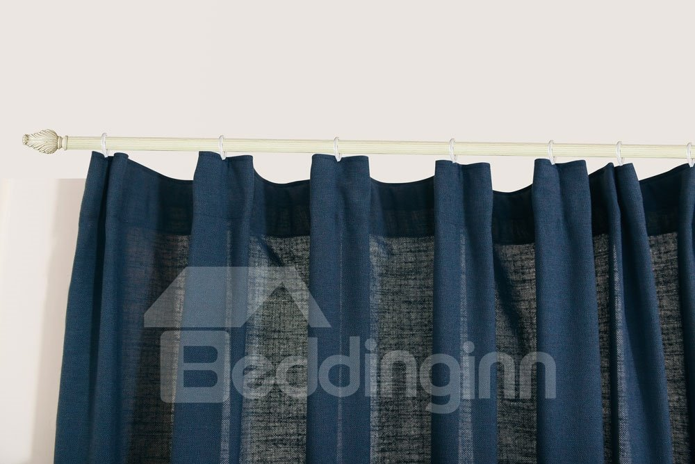 Top Class Elegant Deluxe Deep Blue Grass Lawn Design Double Pinch Pleat  Curtain