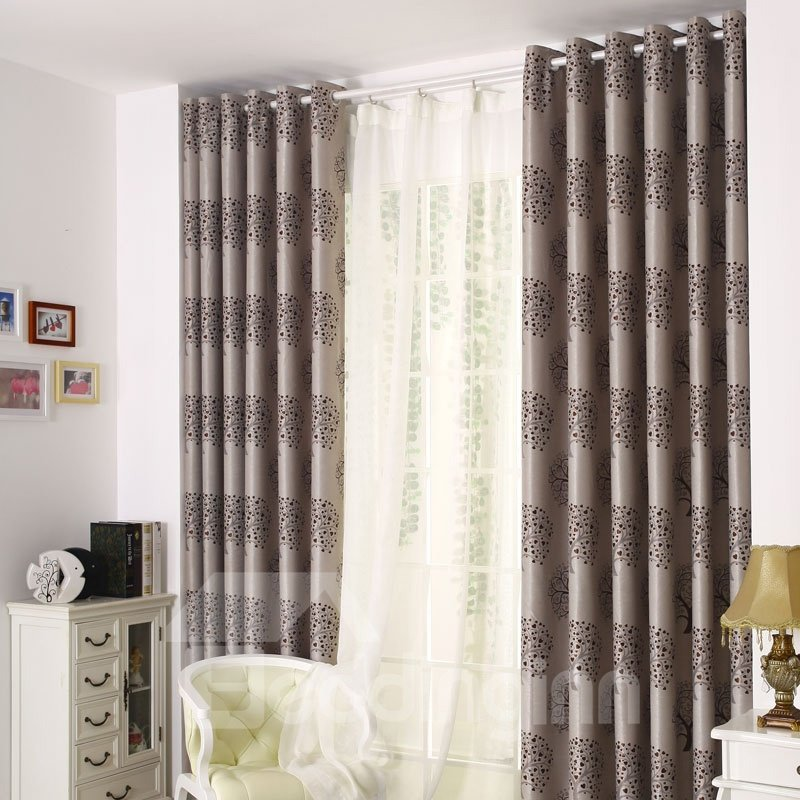Top Quality Elegant Modern Grommet Top Gray Custom Curtain