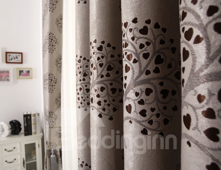 Top Quality Elegant Modern Grommet Top Gray Custom Curtain
