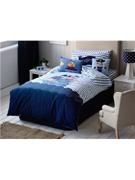 Pirate and Ship on The Sea Pattern 4-Piece Cotton Duvet Cover Sets