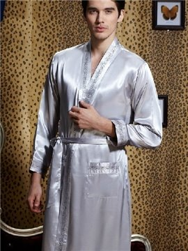 New Style Fantastic Elegant Concise Silvery Sleepwear with Removable Tie at Waist