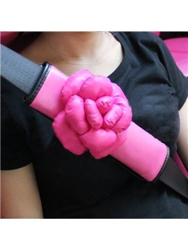 Lovely Pink 3D Camellia Car Seat Belt Cover