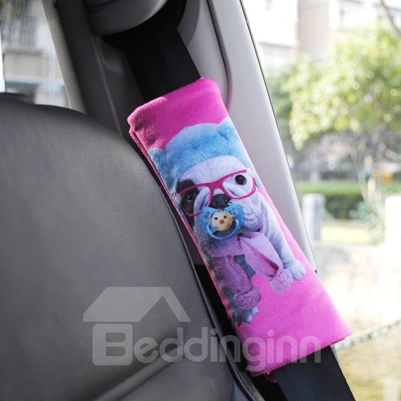 Fluffy Dog Suck Pacifier Car Seat Belt Cover