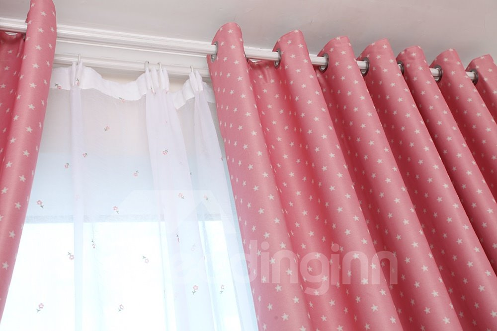 Hit Color Stars Pattern Double Pinch Pleat Custom Sheer