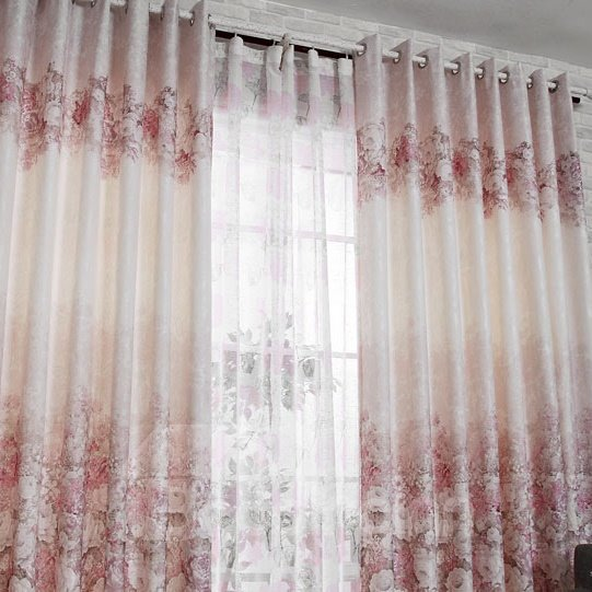 New Classic Luxury Gorgeous Peony Grommet Top Custom Curtain