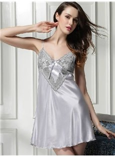 High Quality Elegant Sexy V-Neck Argenteous Lace Detail Chemise