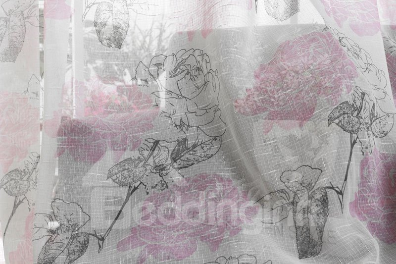 Top Quality Gorgeous Peony Grommet Top Two Pieces Custom Sheer Curtain