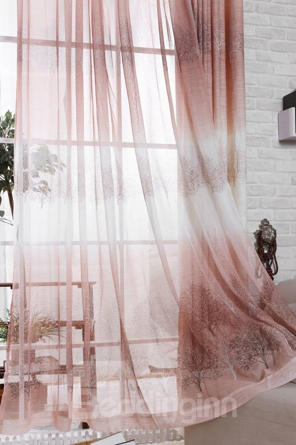 Modern Classic Grommet Top Two Pieces Custom Sheer Curtain
