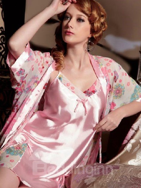 High Quality Pretty Elegant Pink Floral Printing Sleepwear