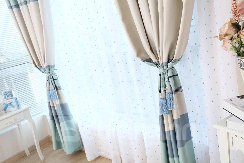 Wonderful Leisure Time Shade Cloth Grommet Top Two Pieces Custom Sheer Curtain