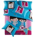 Foever Love for Couples Print 4-Piece Cotton Duvet Cover Sets