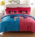 Loving Kiss Print 4-Piece Cotton Duvet Cover Sets